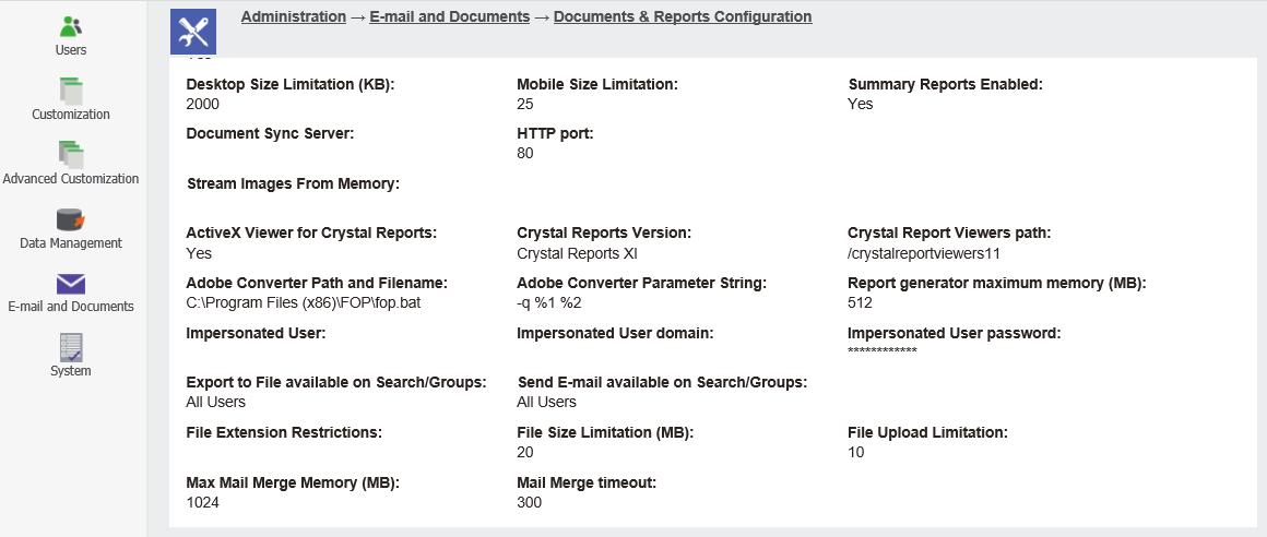Document & Report Configurations