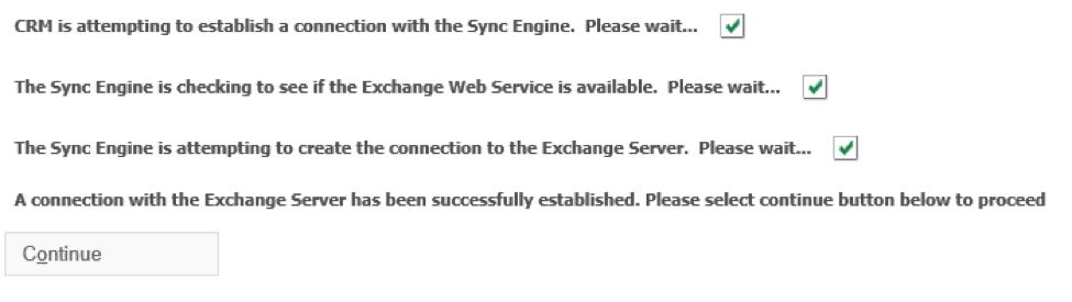 Exchange Server connection status