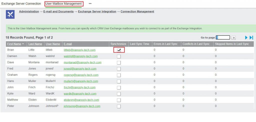 User Mailbox management
