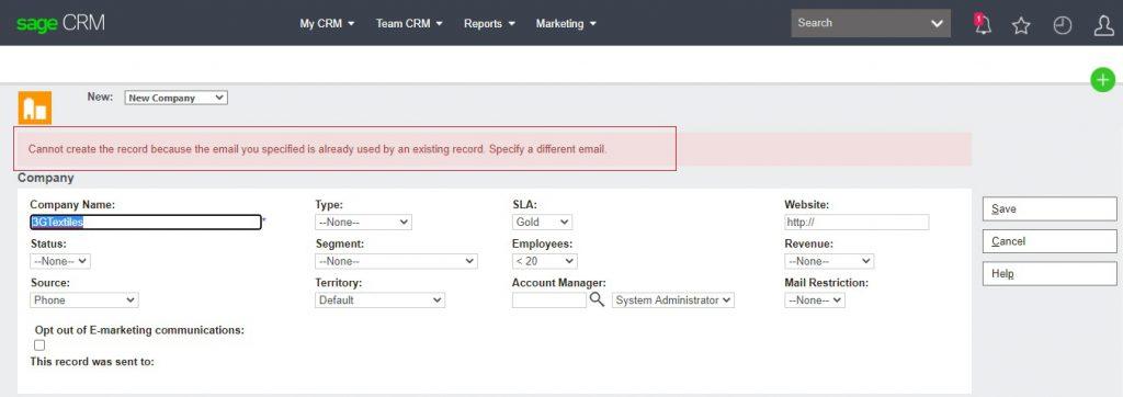 Duplicate Email detected Alert