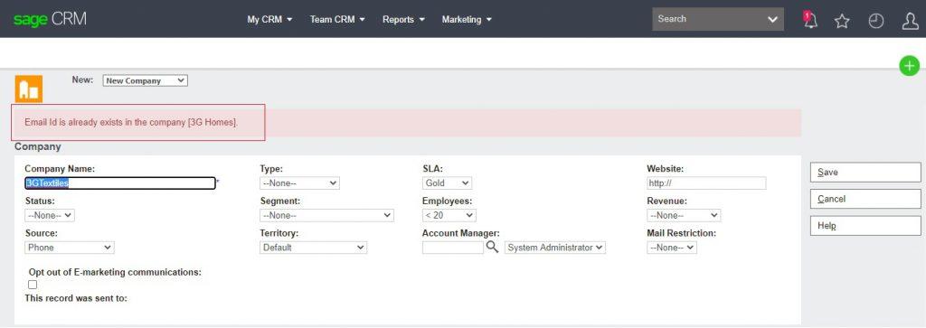 Duplicate Email detected Customized Alert