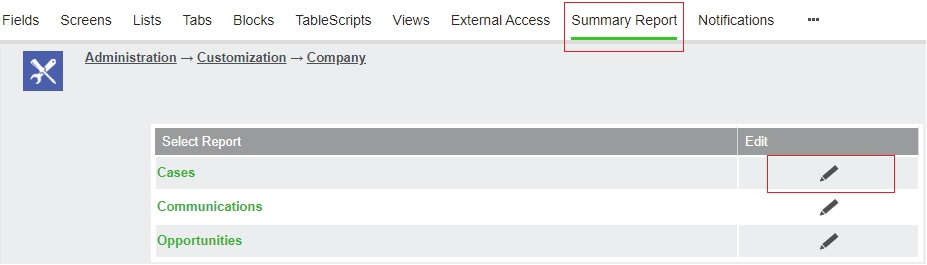 Accessing the Summary Report tab of company entity