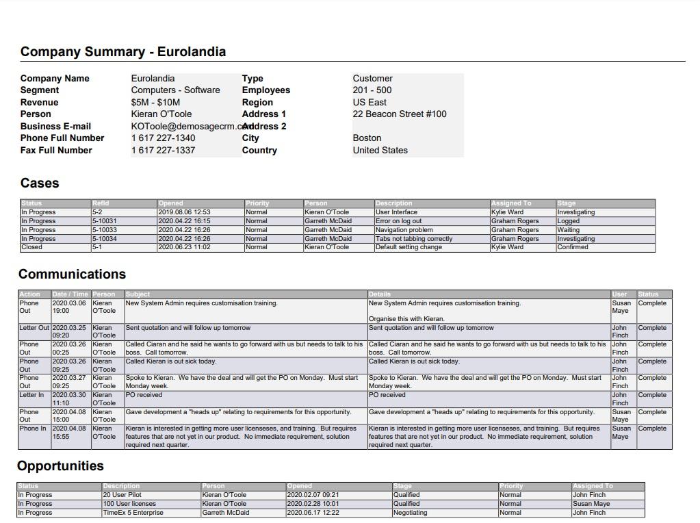 Standard Company Summary Report
