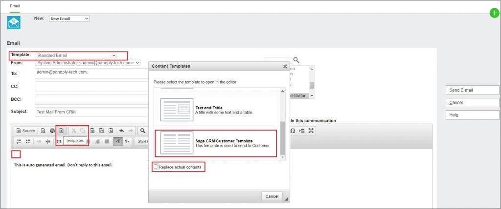 Selecting Content Template in Email editor screen