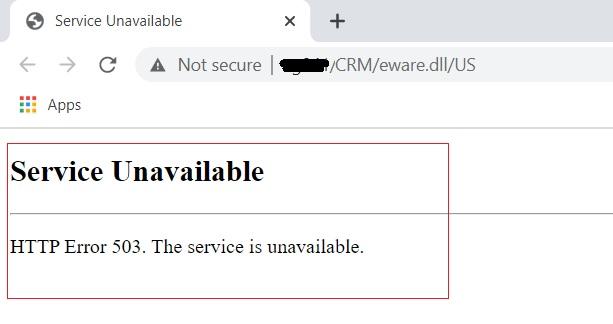 HTTP Error 503 - Sage CRM Login Screen