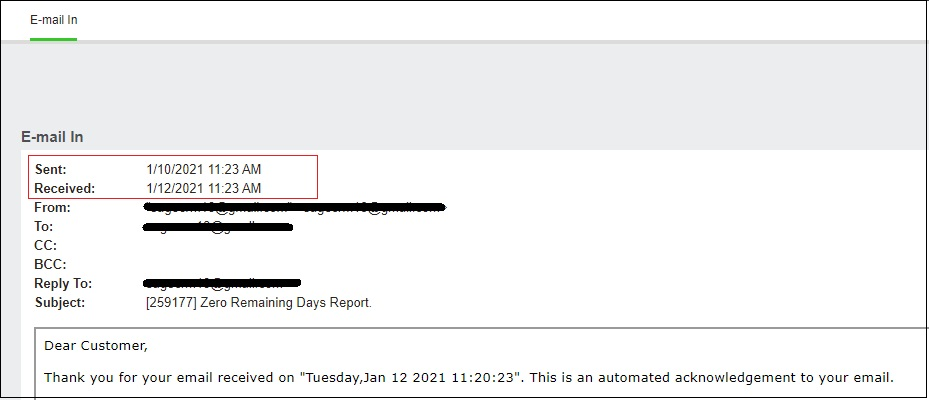 Changes reflected on Email Screen