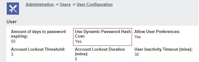 Dynamic Password Hash Cost settings