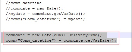 JavaScript that displays Actual Received date on Email screen