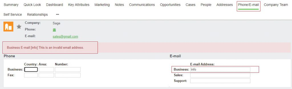 Alerts on Phone - Email screen