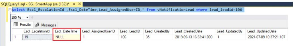 Escl_DateTime field value is null