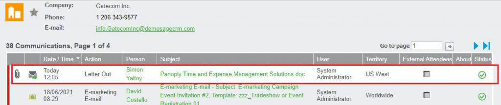 Copy of Merged documents in Communications tab