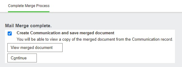 Create Communication and save merged document checkbox checked