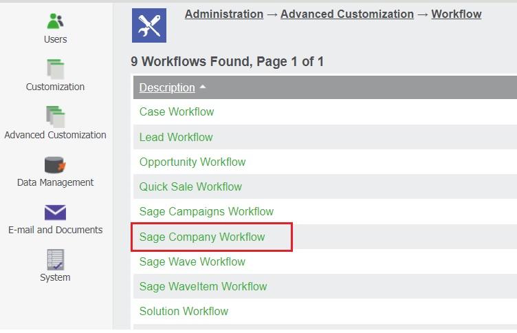 Sage Company Workflow