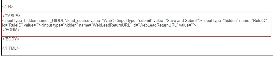 Web to Lead HTML Code in latest version