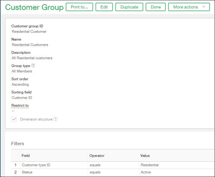 Customer groups view