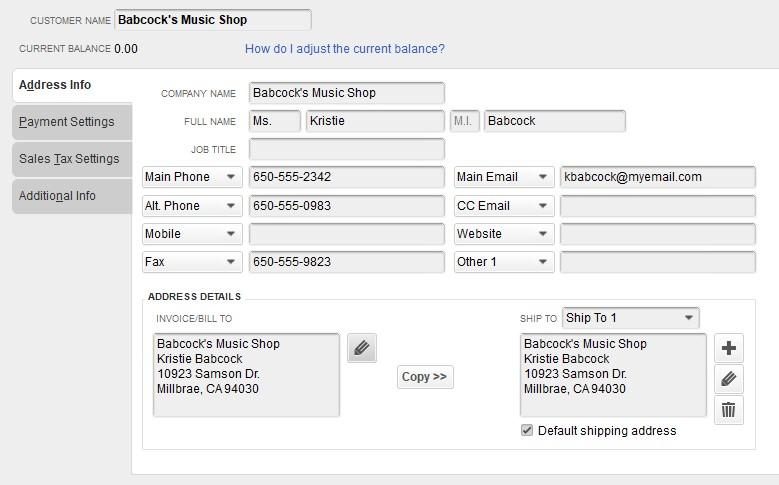 QB Customer Screen