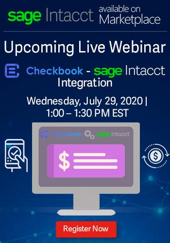 checkbook sage intacct integration