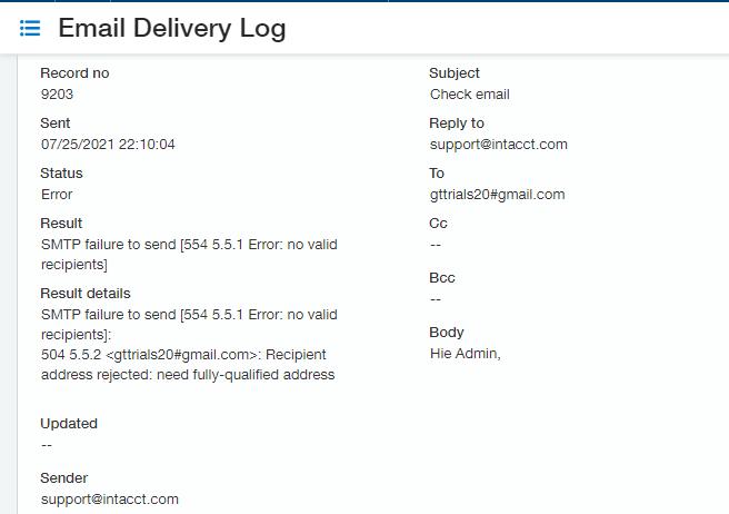 Email Log Details