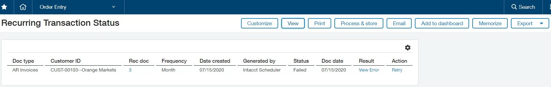 Recurring Transaction Status