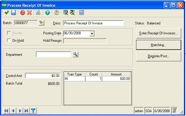 Process reciept of invoice