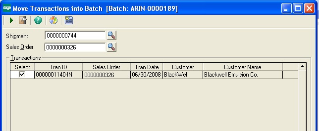Screen to move transaction in to batch