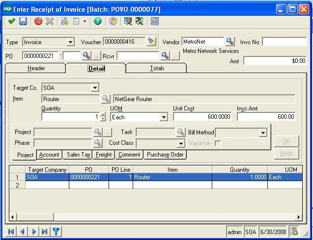 Receipt of Invoice