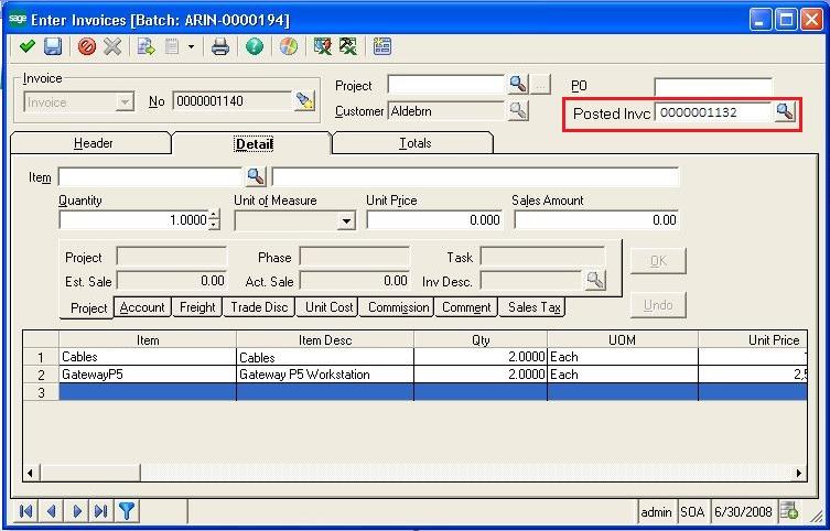 Enter Invoice