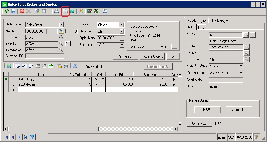 Sales Order entry screen