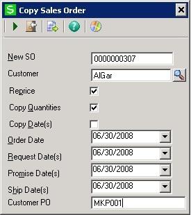 copy Sales Order screen