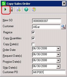 Copy Sales Order functionality