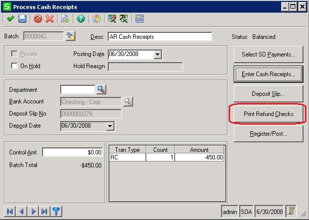 Process Cash Receipts screens