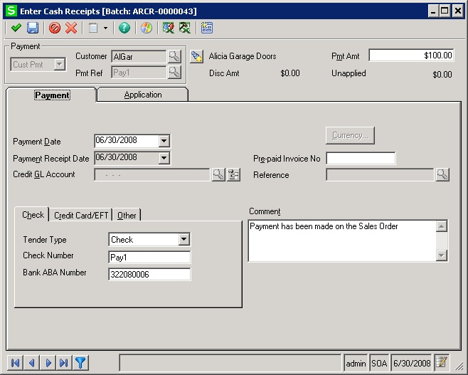 standard process cash receipts screen
