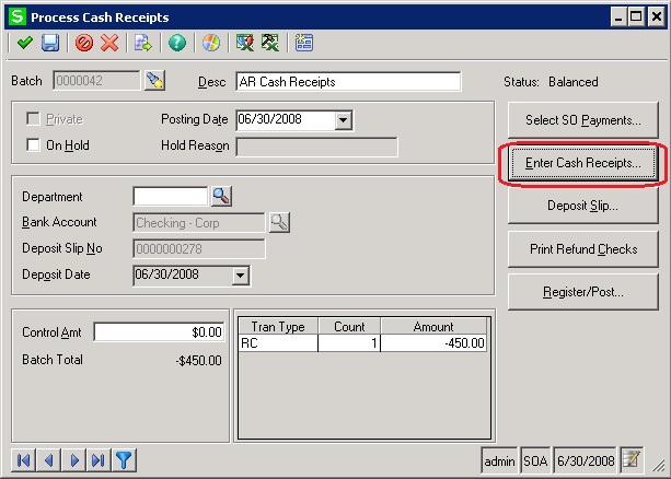 Enter Cash Receipts screens