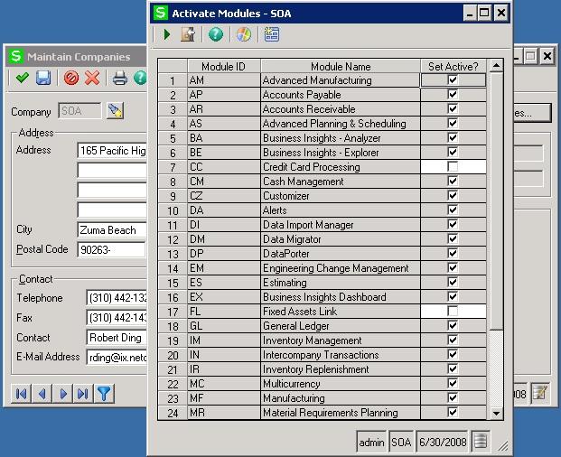 Activate modules Sage 500 ERP