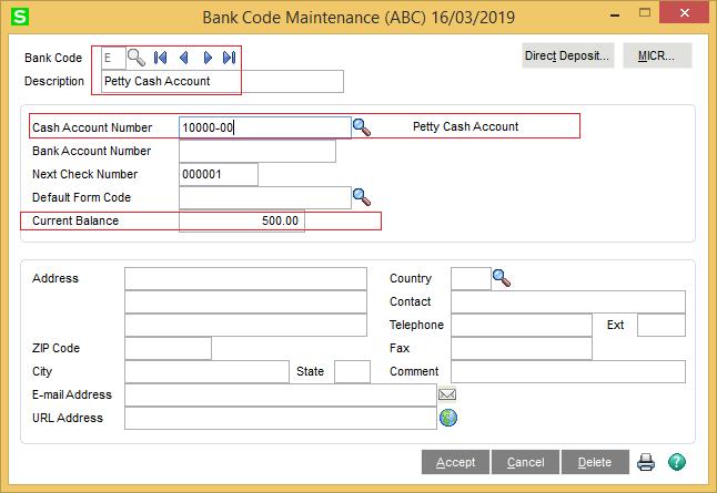 Bank code maintenance in Sage 100