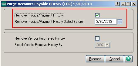 Remove Vendor Payment history