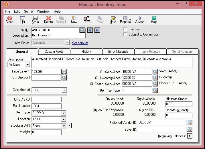 Sage 50 Item Screen