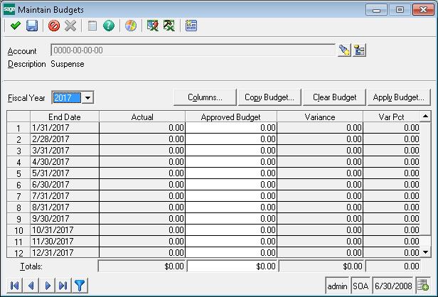 Budget in sage 500