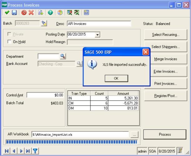 Process invoice screen