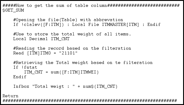How To Get The Sum Of Table Column In Sage X3 Sage Enterprise