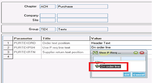 How to allow text from a purchase request line to transfer into