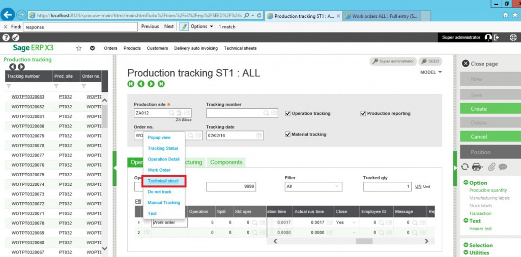 Production Tracking ST1 in Sage X3