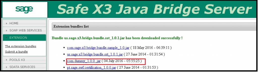 Upload the JAR file in java bridge