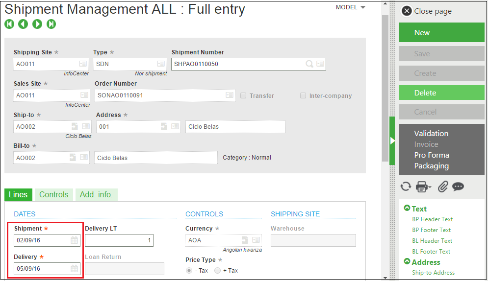 shipment management in sage x3