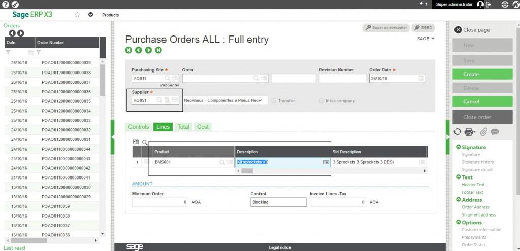 supplier under Supplier tab