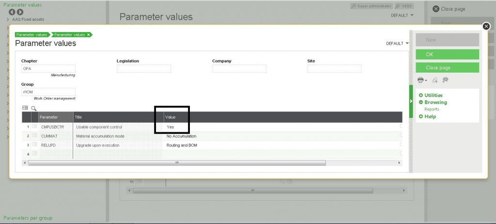 not-usable component parameter value
