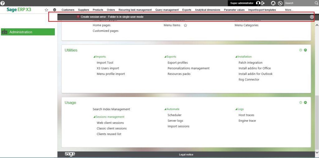 sage x3 seed folder error