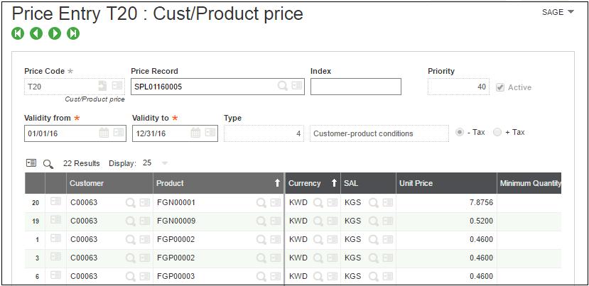 pricelist custom product price