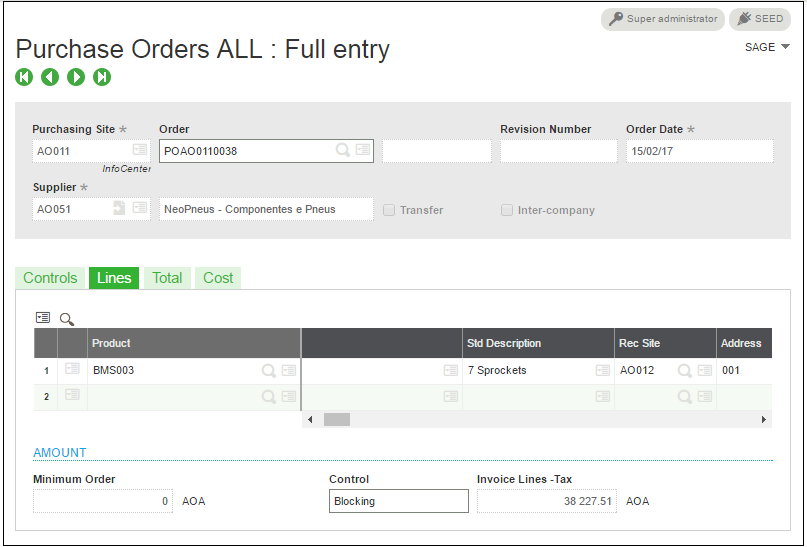 purchase order with purchasing site