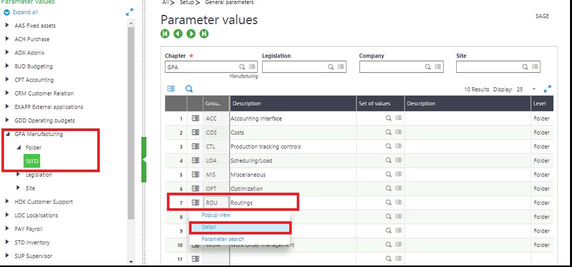 Parameter setup screen